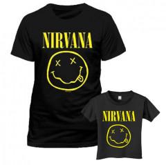Duo Rockset Nirvana papa t-shirt & kinder t-shirt Smiley