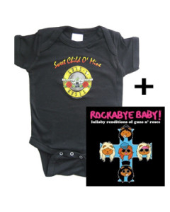 Cadeauset Guns and Roses romper baby & Rockabyebaby cd